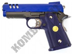 WE Baby Hi Cappa 3.8C Gas Blowback Metal Airsoft BB Gun 2 Tone Blue Black